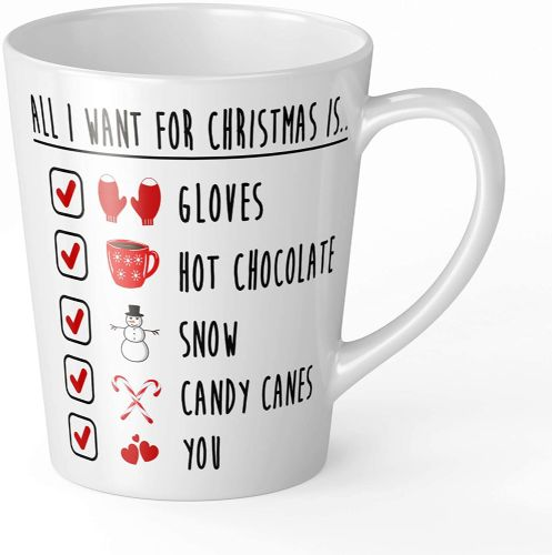 All I Want for Christmas is You Festive Checklist Novelty Gift Latte Mug